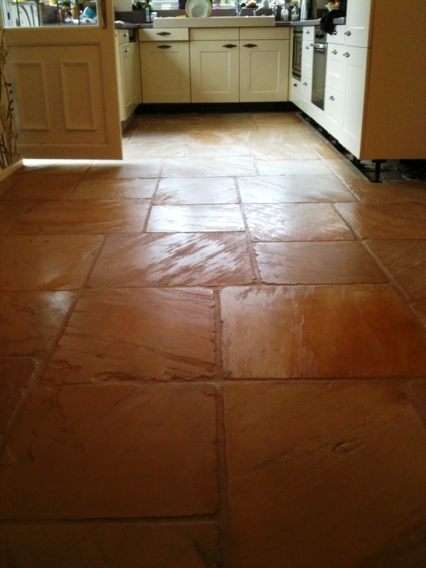 Kitchen Sandstone Flags After Cleaning