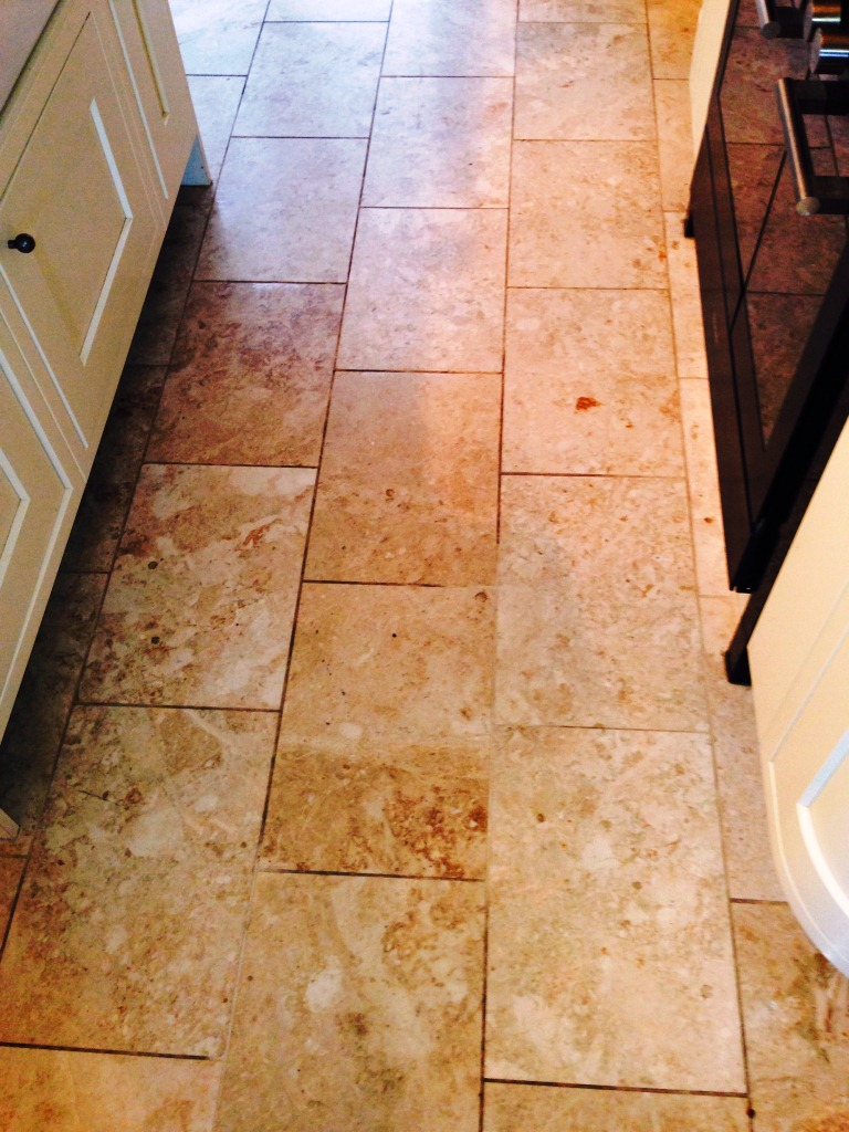 Marble Tiled Floor in Disbury Kitchen Before