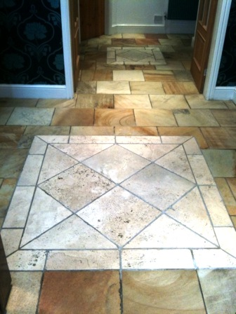 Sandstone and travertine after cleaning and sealing