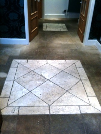Sandstone and travertine before cleaning