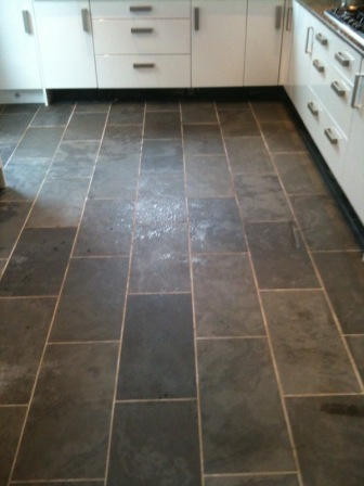 Semi Riven Brazilian Slate tiles efore cleaning