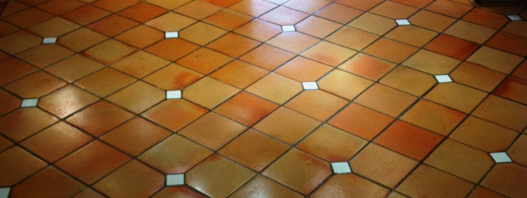 Terracotta Tiled Kitchen Floor Cleaned and Sealed in Horwich