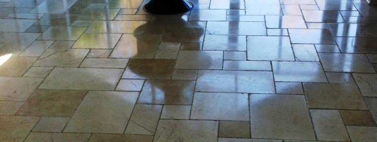 Travertine Tiled Kitchen Floor maintained in Manchester
