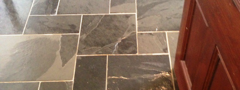 Riven Slate Tiled Floor Cleaned and Sealed in Bury