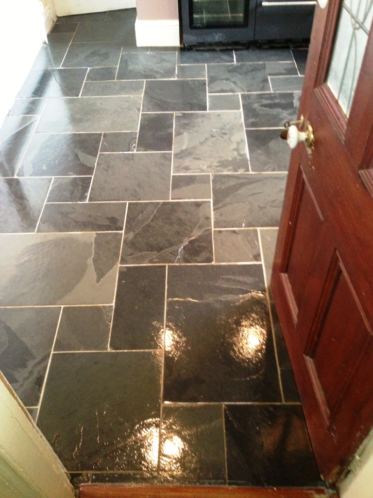 riven slate floor after photo