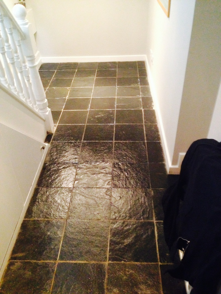 Brasilian Slate Floor in Urmston after cleaning