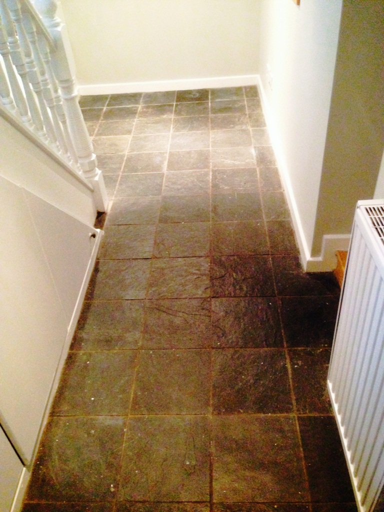 Brasilian Slate Floor in Urmston before cleaning