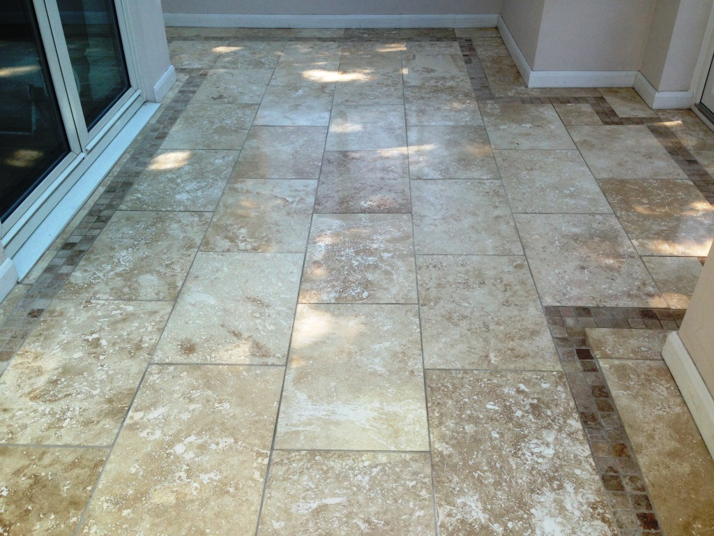 Damaged Travertine Tiles Oldam Conservatory After