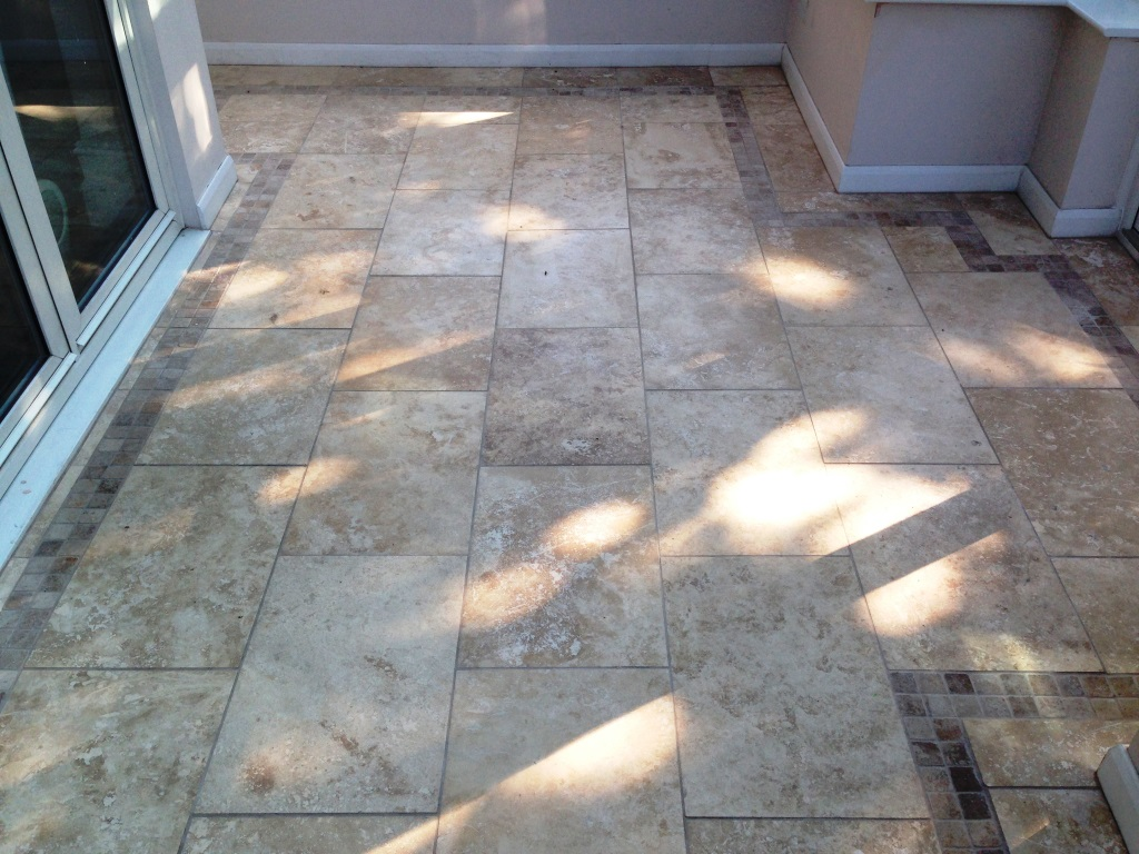 Damaged Travertine Tiles Oldam Conservatory Before