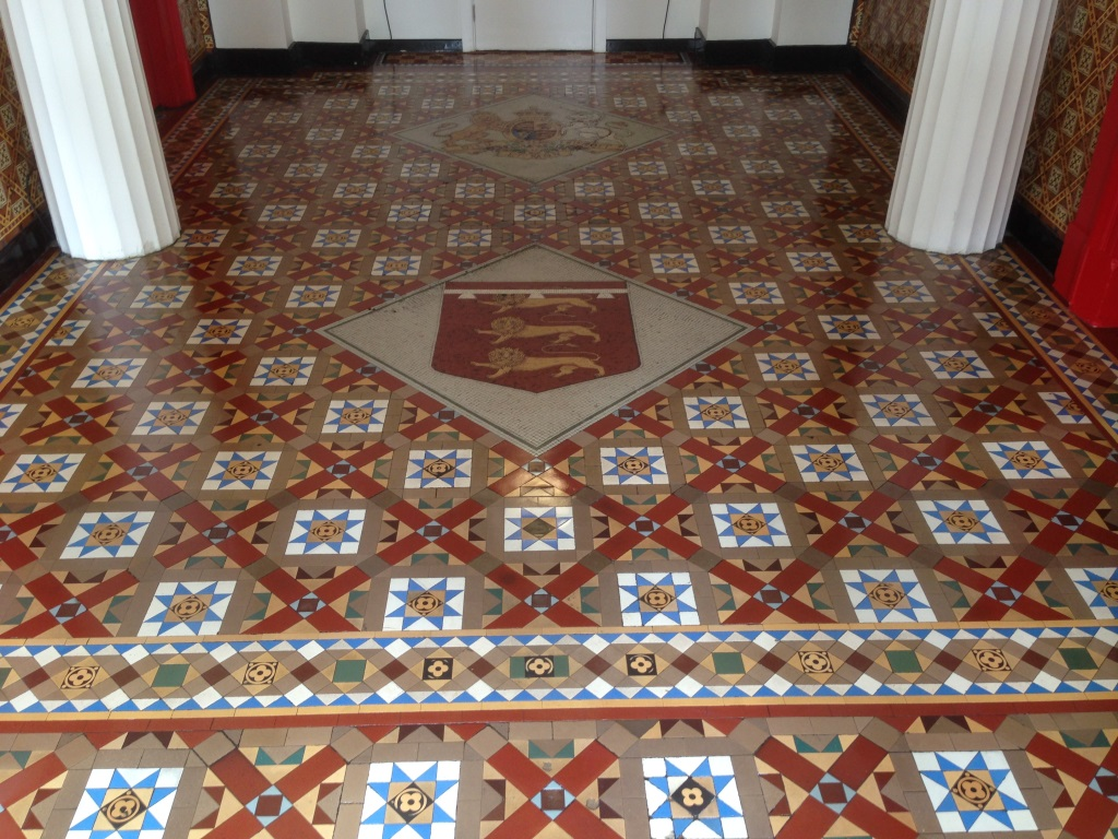 Victorian Tiles at Salford Town hall after
