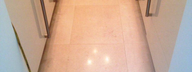 Recently Laid Travertine Tiled Floor Cleaned in Didsbury