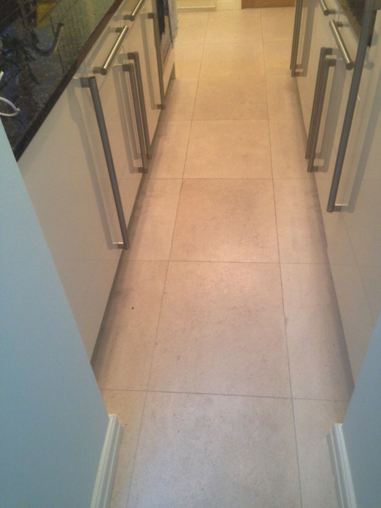 New Travertine Floor Before Cleaning in Disbury