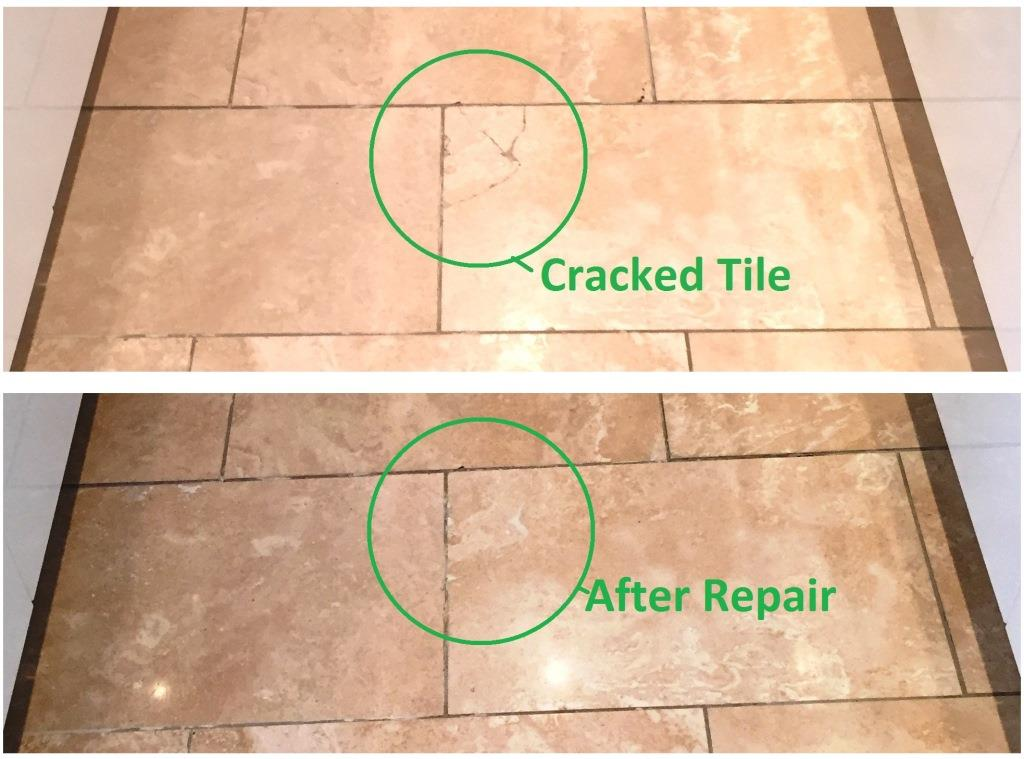 Stone cleaning and polishing tips for travertine floors for Cracked bathroom tile repair