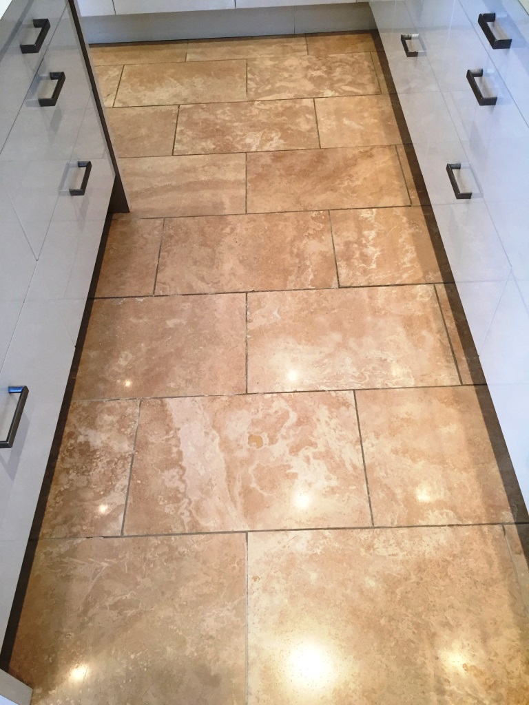 Travetine Tiled Floor After Burnishing Didsbury