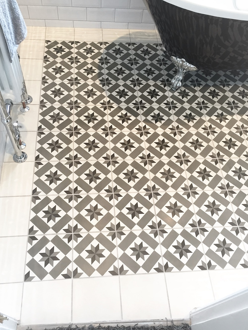 Encaustic Cement Floor Tiles After Cleaning Stockport