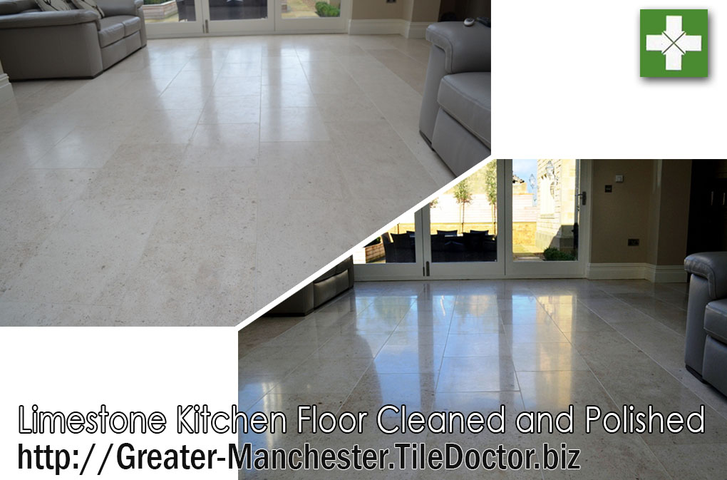 Limestone floor before and after polishing in Peel Green