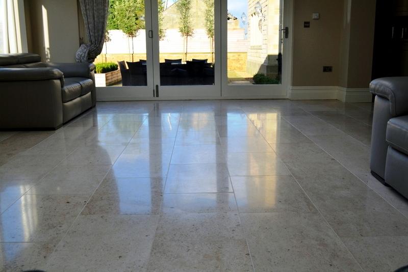 Limestone tiled floor after burnishing Peel Green