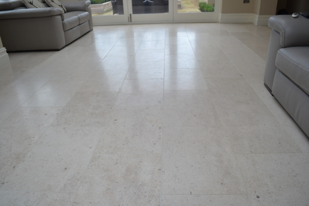 Limestone tiled floor before burnishing Peel Green