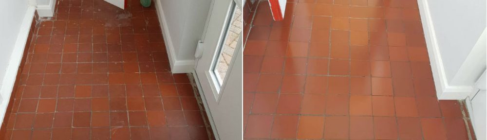 Stained Quarry Tiled Porch Cleaned and Sealed in Middleton