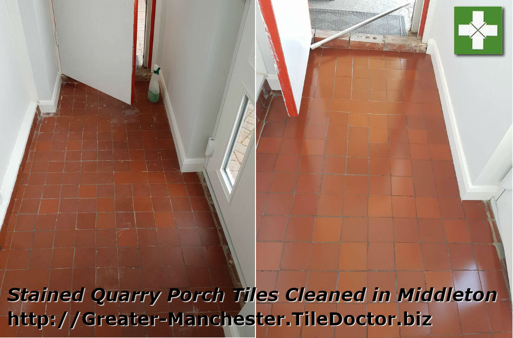 Quarry tiled porch floor before and after cleaning in Middleton