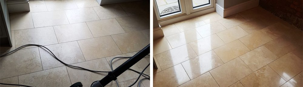 Cleaning, Polishing and Sealing Travertine Floors in Newton Heath