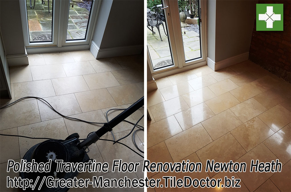 Renovating Dull Travertine Tiles in Newton Heath
