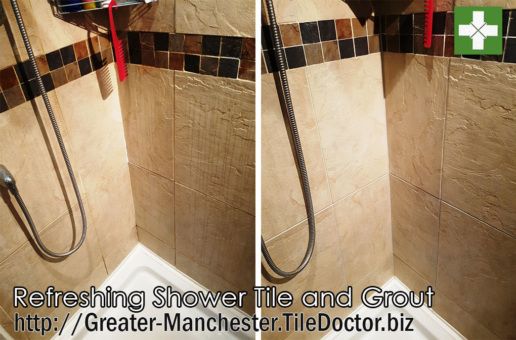 Shower cubicle before and after cleaning in Dane Bank