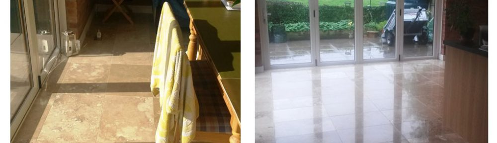 Burnishing the Polish Into Travertine Tiles in Didsbury