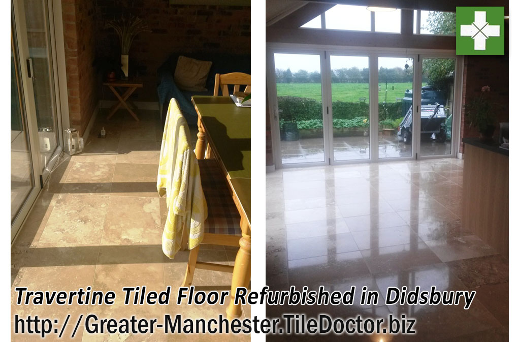 Travertine floor before and after polishing in Didsbury