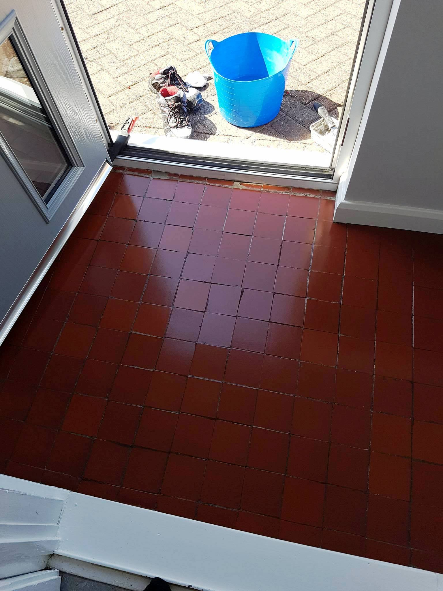 Quarry tiled porch after sealing Middleton
