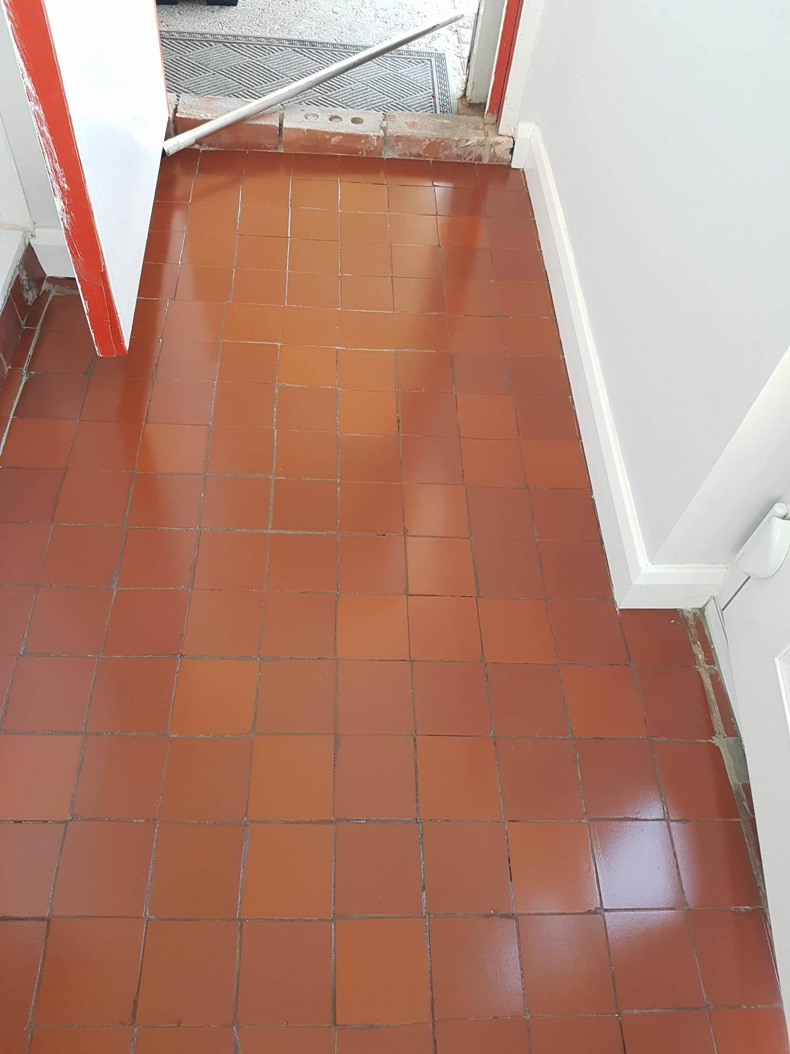 Quarry tiled porch after sealing Middleton