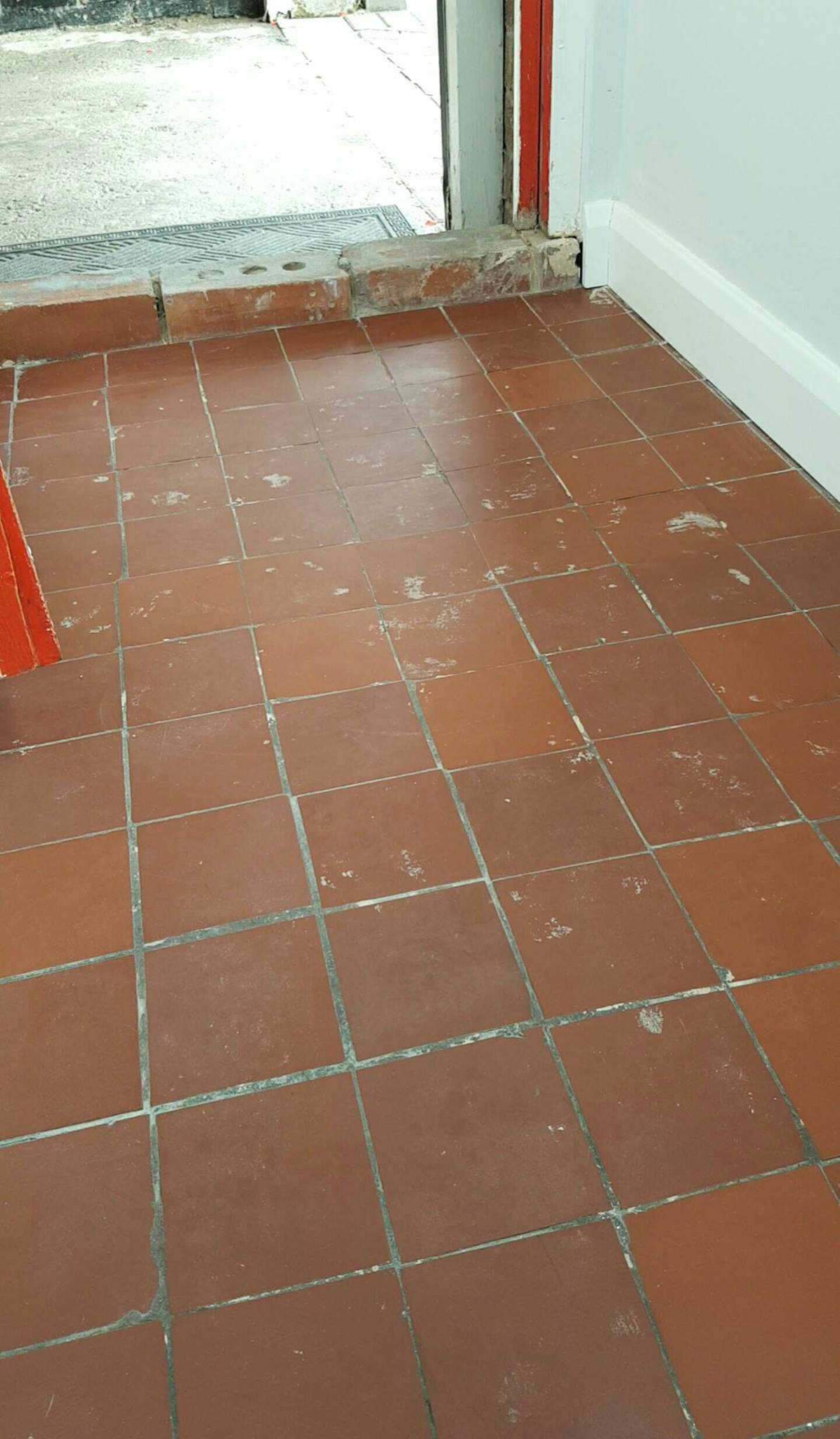 Quarry tiled porch before cleaning Middleton