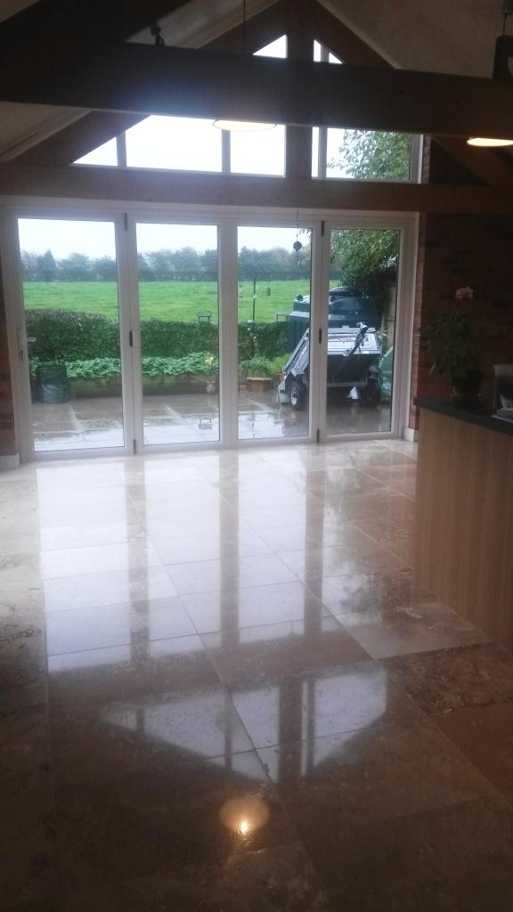 Travertine tiled floor after polishing in Didsbury