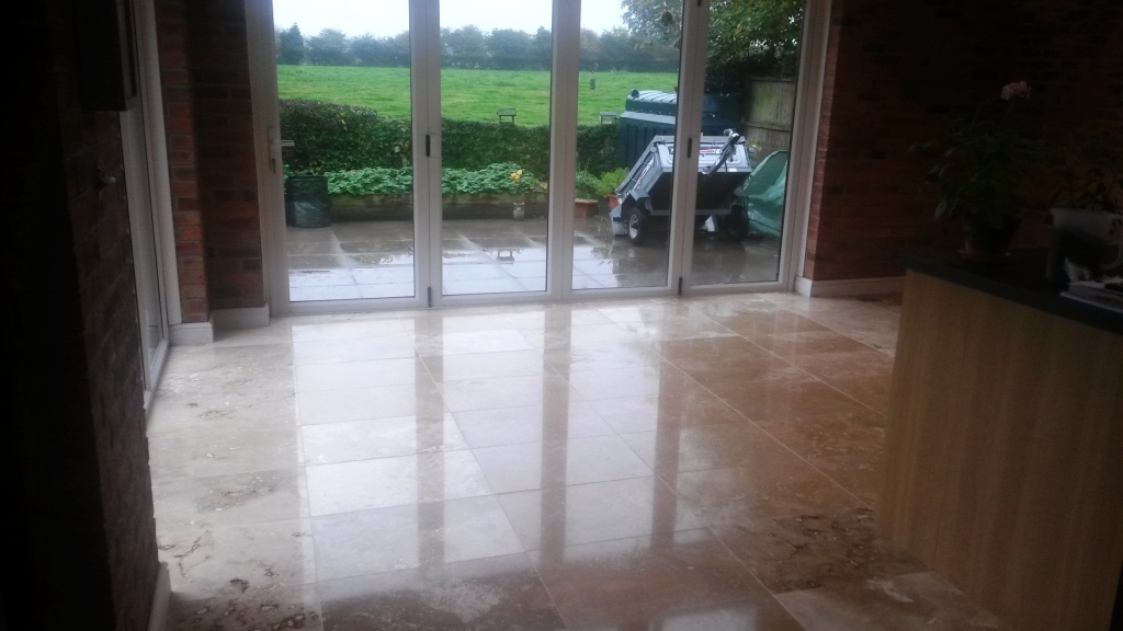 Travertine tiled floor after polishing in Didsbury