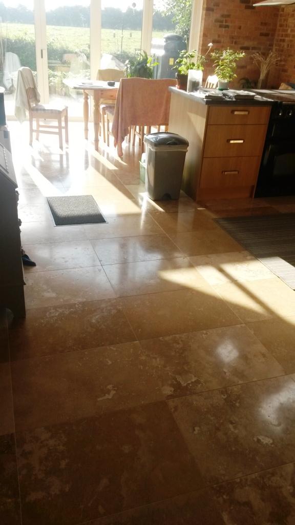 Travertine tiled floor before polishing in Didsbury