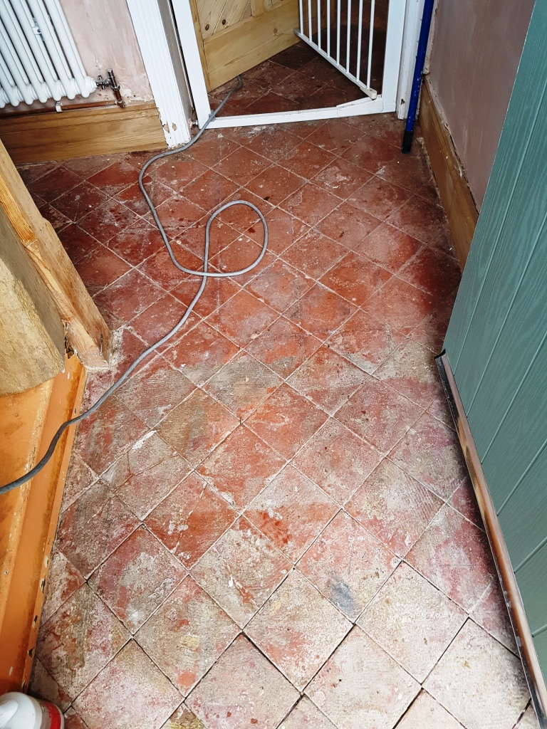 Quarry Tiles in Hale Before Cleaning