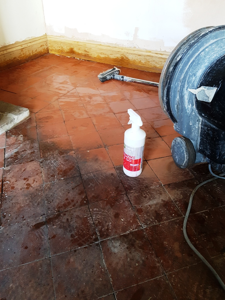 Quarry Tiles in Hale During Cleaning