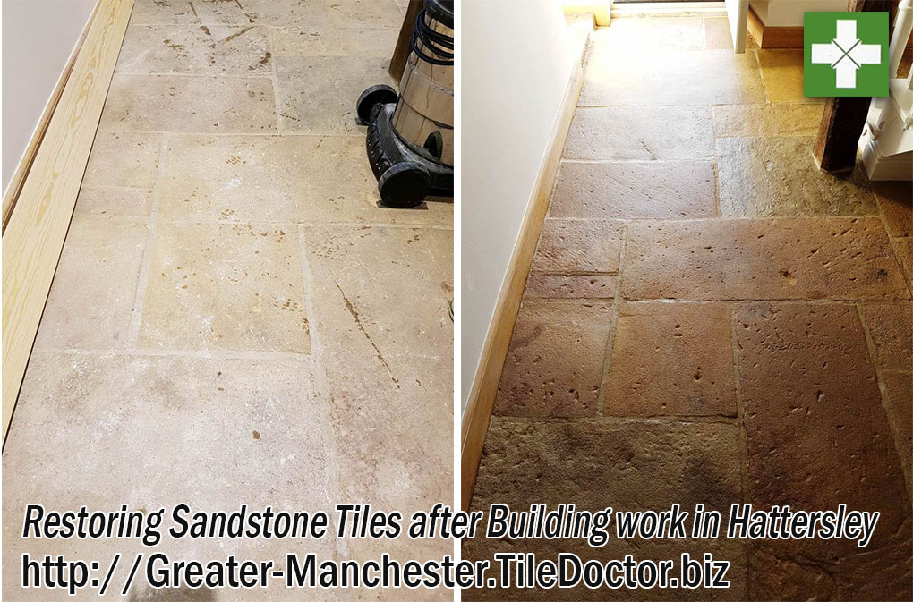 Restoring Dull and Dirty Sandstone Floor Tiles in Hattersley