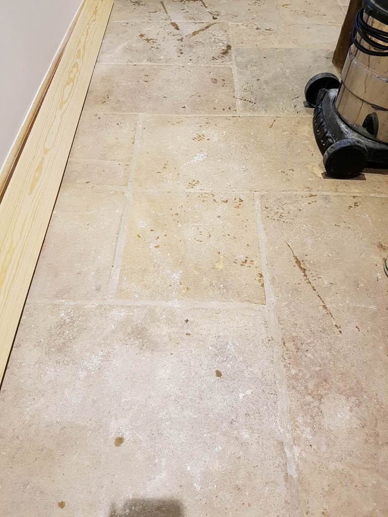 Sandstone Floor Before Cleaning in Hattersley