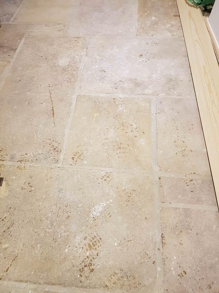 Sandstone Floor Before Cleaning in Hattersley