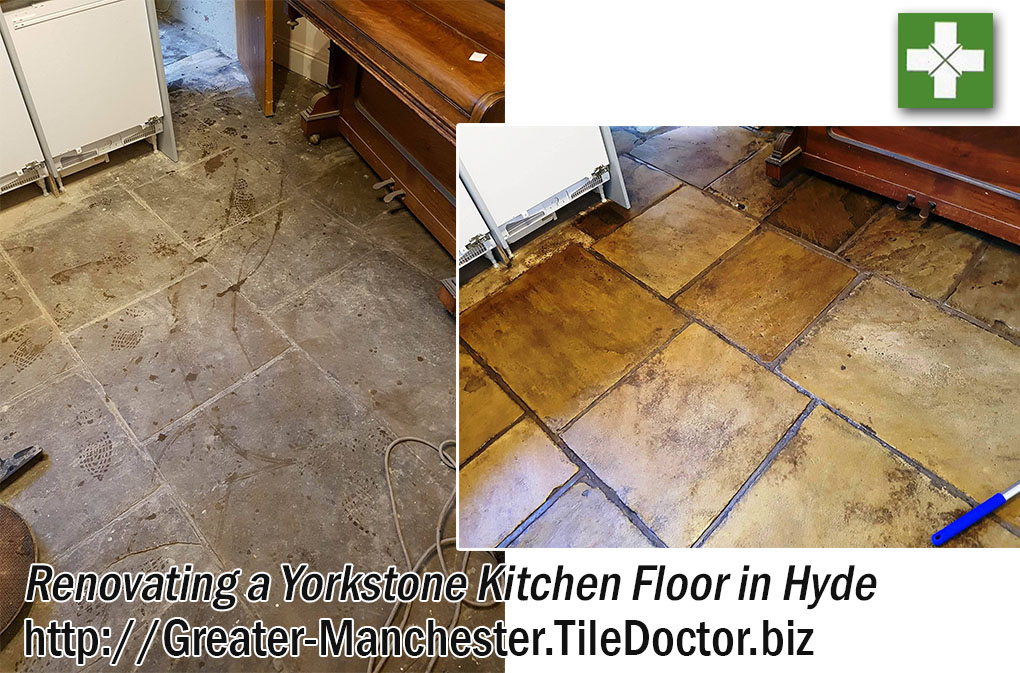 Renovating Dull and Dirty Yorkstone Tiles in Hyde