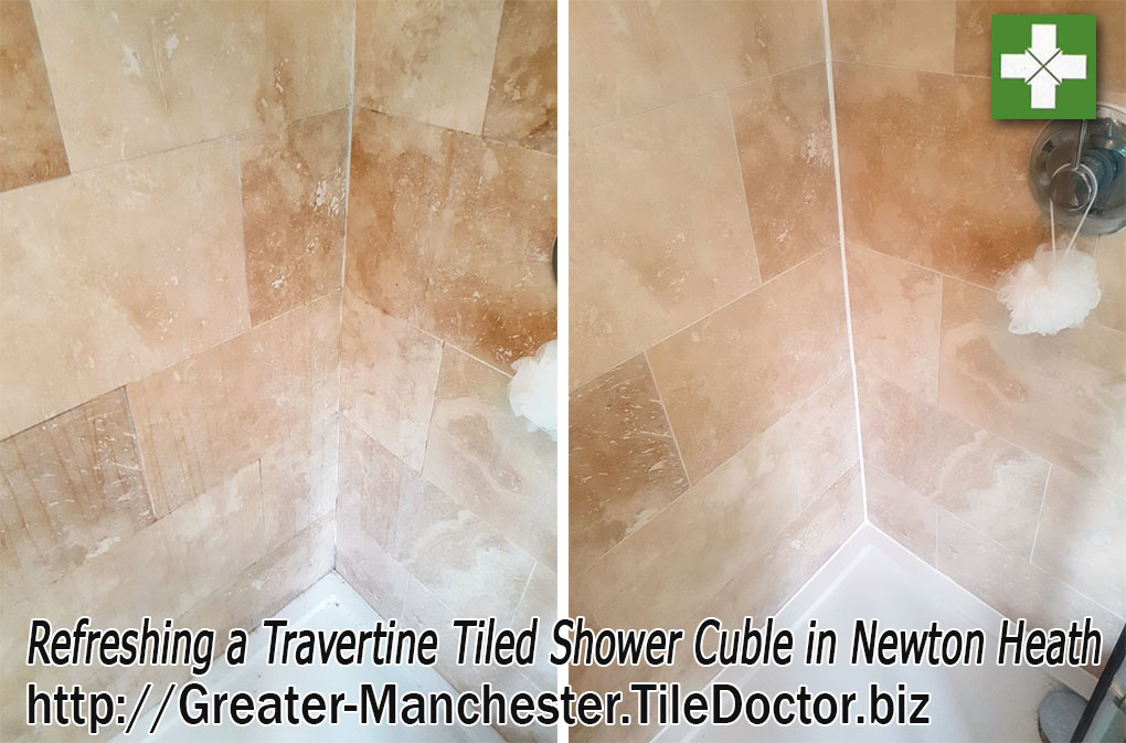 Renovating Travertine Shower Cubicle in Newton Heath