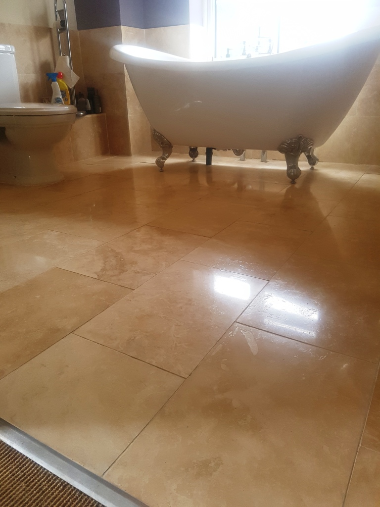 Travertine Bathroom Floor After Cleaning and sealing Newton Heath