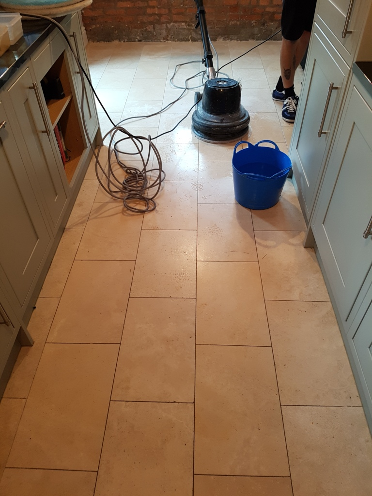 Travertine Kitchen Floor Before Cleaning and Sealing Newton Heath
