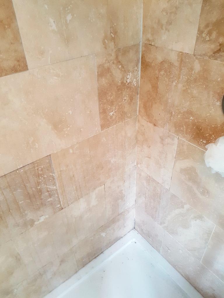 Travertine Tiled Shower Cubicle