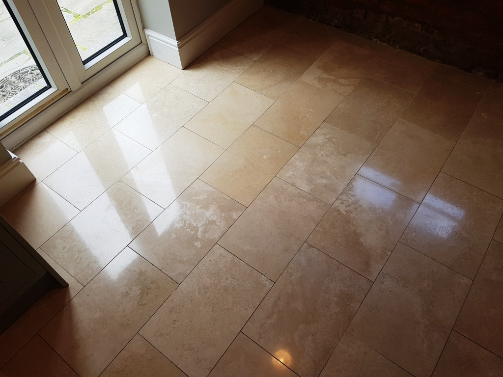 Travertine Tiled Floor After Cleaning and sealing Newton Heath