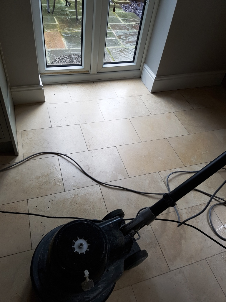 Travertine Tiled Floor Before Cleaning and Sealing Newton Heath