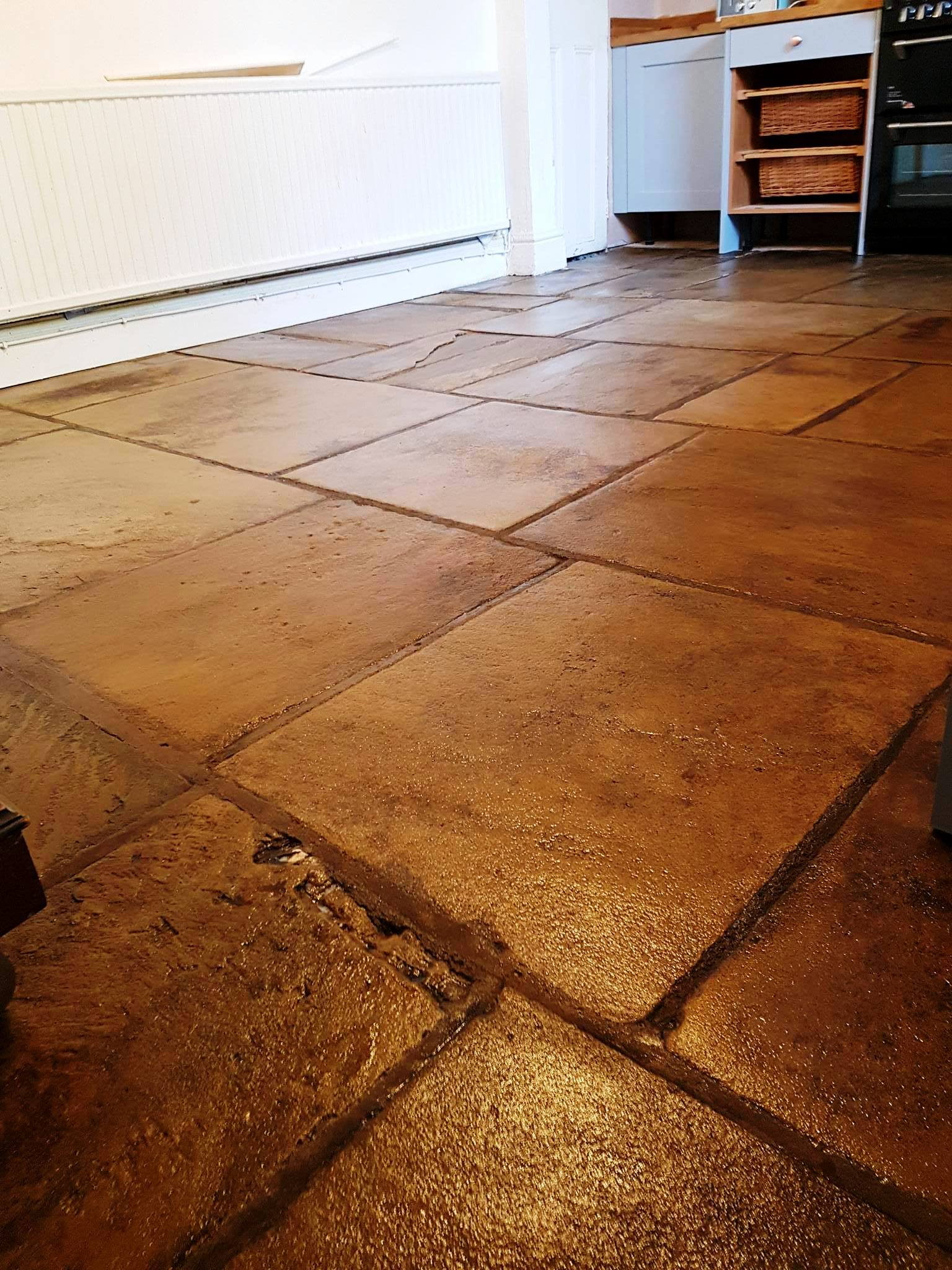 Yorkstone Slab Floor After Cleaning and Sealing in Hyde