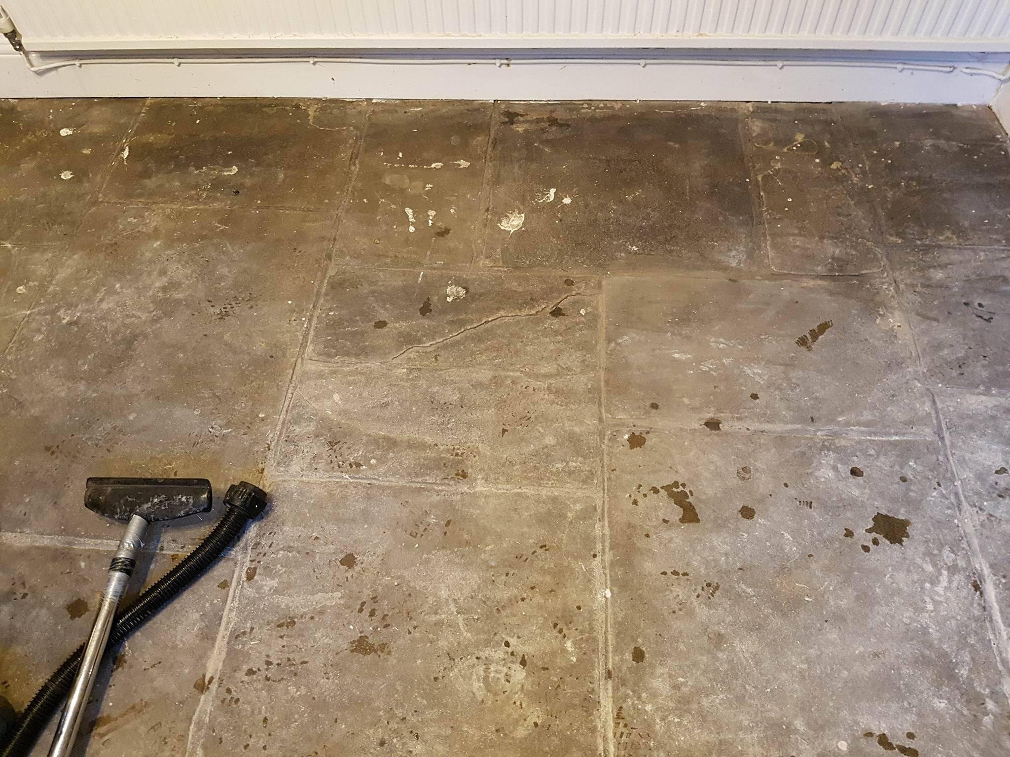 Yorkstone Slab Floor Before Cleaning and Sealing in Hyde