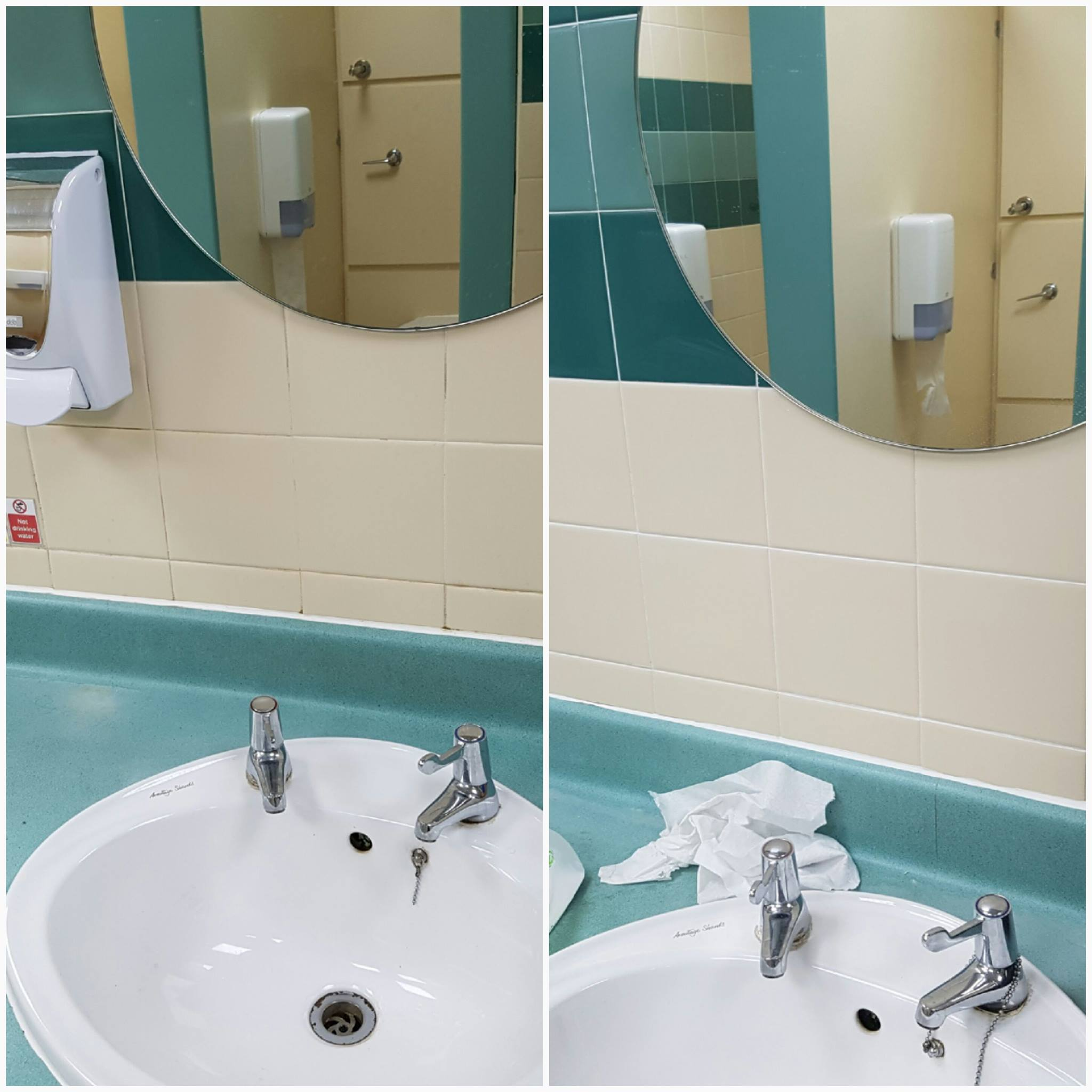 Bathroom Wall Grout Refresh at Corporate Offices Before and After Cleaning